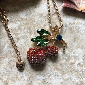 [NWOT] Betsey Johnson 2Tone Cherry Necklace